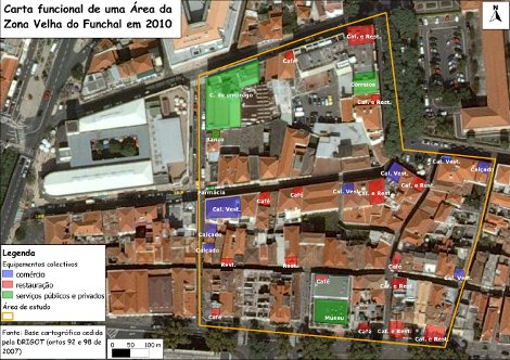 QGIS - Functional map of an area in the old part of the town of Funchal, surrounding Jaime Moniz Secondary School