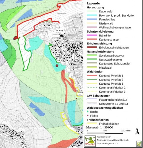 QGIS - Basel, Switzerland: Extract of forestry measurements map